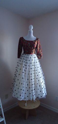 Vintage 1960s Boat Neck Brocade Paisley Black and White and Black Polka Dot Tulle Tea Length Dress on Etsy, $148.36 CAD