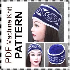 Machine knitting PDF pattern boho hat skull cap by beaknitting, $3.20