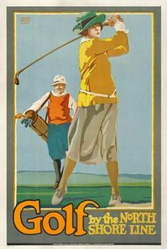 Golf by the North Shore Line Chicago vintage railroad travel poster reproduction