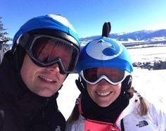 A happy skiing couple in custom blue hawk helmet covers Helmet Covers, Cover Photos, Skiing, Photo Galleries, Couple, Gallery, Happy, Blue, Ski