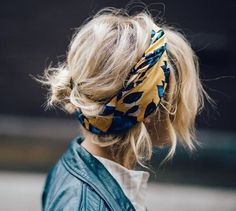 Headscarf with a low messy bun.