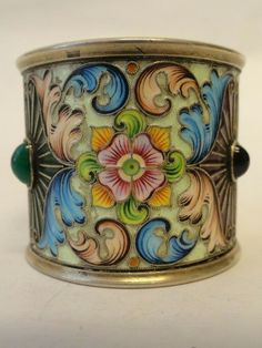 Weight is 68 grams. New York NY Silver Enamel, Rare Antique, Makers Mark, Napkin Rings, Cuff Bracelets, Antiques, Floral, Jewelry, Antiquities