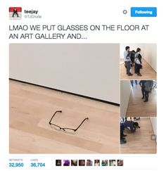 On Monday, Khayatan posted the pics to Twitter and got a very strong reaction from people. The pics quickly went viral, and have over 32,000 retweets and 36,000 likes to date. | This Teen Pulled Off The Ultimate Joke At An Art Gallery - BuzzFeed News