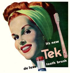 Love her hairstyle - the rolled bang is nestled into a slit in her headband/scarf. #vintage #1940s #hair #ads