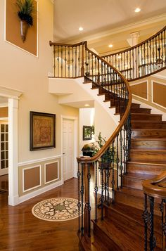 I Love Unique Home Architecture. Simply stunning architecture engineering full of charisma nature love. The works of architecture shows the harmony within. Foyer Staircase, Curved Staircase, Stair Railing, Staircase Design, Staircase Ideas, Banister Ideas, Iron Staircase, Winding Staircase, Villa Plan