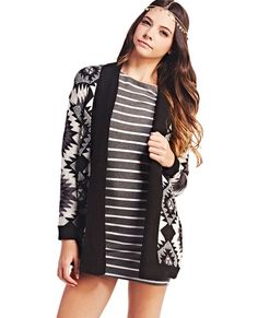 "<p>Rock the tribal trend no matter the season! This cozy cardi features a sweater knit body with a diamond Aztec print, open front, a contrast ribbed trim, and long sleeves.</p>  <p>Model is 5'9"" and wears a size medium.</p>  <ul> 	<li>100% Acrylic</li> 	<li>Machine Wash</li> 	<li>Imported</li> </ul>"
