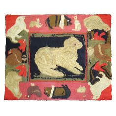 Folky Pictorial Mounted Hand Hooked Rug From Pennsylvania