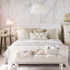 Vintage Bedroom Vintage glam bedroom, with tree-print wallpaper and white wooden bed - Looking for vintage bedroom ideas? We show you how to create a vintage bedroom with vintage crafts and beautiful decorating scheme ideas Bedroom Photos, Bedroom Ideas, Bedroom Designs, Bed Designs, Glam Bedroom, Feminine Bedroom, Modern Bedroom, Bedroom Bed, Cosy Bedroom