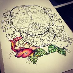 Sick sugar skull design and line art for a  tattoo sketch...