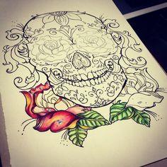 Sick sugar skull design and line art for a  tattoo sketch...