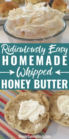 some homemade whipped honey butter for your freshly baked bread? This recipe is SO easy and delicious!Want some homemade whipped honey butter for your freshly baked bread? This recipe is SO easy and delicious! Flavored Butter, Homemade Butter, Whipped Butter, Recipe With Honey, Homemade Honey Butter Recipe, Homemade Recipe, Homemade Food, Chutneys, Bon Dessert