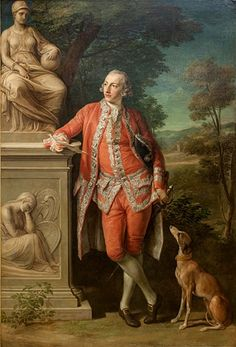 1766 Pompeo Batoni - Peter Beckford (National Gallery of Denmark) Rococo Fashion, Skyline Art, 18th Century Fashion, National Portrait Gallery, Victorian Art, Grand Tour, Outdoor Outfit, Family Portraits, Male Portraits