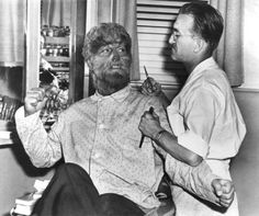 """Lon Chaney, Jr. (I think) with Jack Pierce (I think) for """"The Wolfman"""" movie"""