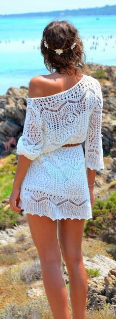 Crochet detail sleeve dress fashion...one of my fav's for the summer! HotWomensClothes.com