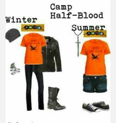Winter: Camp shirt Denim skinny jeans Combat boots Leather jacket Gray beanie Summer: Camp shirt Denim shorts Converse Silver necklace