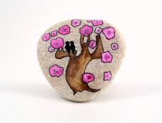 Hand painted stone. Home decor. Painted rock art. Unique gift. Love birds.