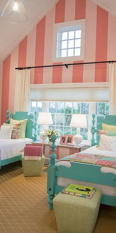 My dream bedroom for my girls! gorgeous little girls' bedroom - my visit to the HGTV Dream Home 2015 on Martha's Vineyard - Teenage Girl Bedrooms, Little Girl Rooms, Twin Bed For Girls, Shared Bedroom Girls, Girls Bedroom Pink, Twin Bedroom Ideas, Twin Room, Teen Bedroom, Master Bedrooms
