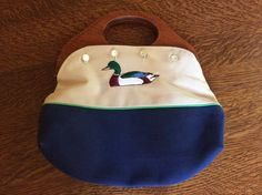 Vintage Mallard Duck Bermuda Purse with Wooden Handles / 1980s Navy and Khaki Purse - removable cover / vintage cloth purse / Retro fashion