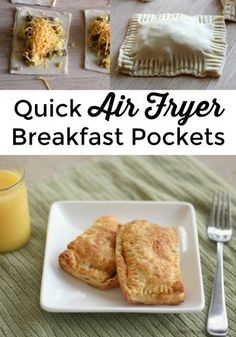 Quick Air Fryer Breakfast Pockets Need a new idea for a hot breakfast? Try this recipe for Air Fryer Breakfast Pockets - made in minutes in your air fryer! Air Fryer Recipes Breakfast, Air Fryer Oven Recipes, Air Fry Recipes, Air Fryer Dinner Recipes, Brunch Recipes, Cooking Recipes, Healthy Recipes, Snacks Recipes, Airfryer Breakfast Recipes