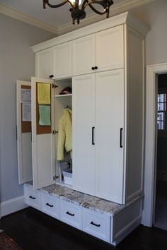 Like large cabinet, not individual so can be one large coat closet. Upper cabinet good for umbrellas and winter stuff. lockers with doors Entryway Storage Solutions Home Organization, Mudroom, Home, Coat Closet Organization, Locker Storage, Locker Designs, Entryway Storage, Storage, Mud Room Storage