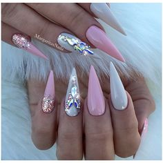 Nude Pink Rose Gold Bling Stilettos by MargaritasNailz from Nail Art Gallery