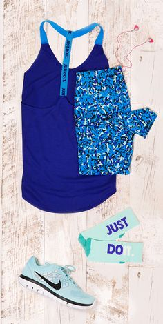 Your get fit, stay fit resolution? Just do it! Featured Nike product: Elastika racerback running tank, Legend Dri-FIT workout tights, Just Do It crew socks, and Flex Run 2015 running shoe. Find Nike and more at Kohl's. #MakeYourMove