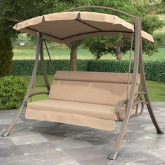 3-Person Outdoor Porch Swing with Canopy in Beige Tan Brown $676.88