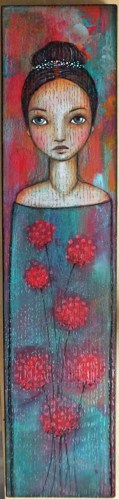 "Original OOAK Mixed Media Folk Art ""Red Blooms"" Acrylic and Colored pencil on wood woman portrait A. Kennedy"