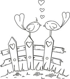 free digital stamp of love birds by lorie