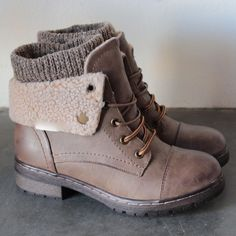 coolway - bring leather knit sweater cuff ankle boots (4 colors) from shophearts. Saved to DESERT WANDERER. #boots #want #need #love #amazing #great #bootie #shoe.