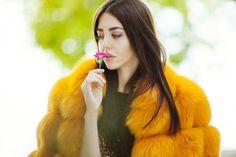 Orange fur coat or pink fur coat