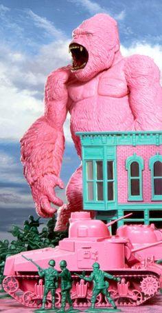 Pink gorilla by Ron English