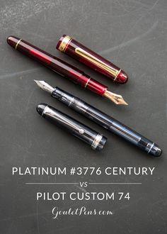 Hey there, fountain pen friends, Lydia and Colin here bringing you another exciting edition of the Goulet Pen Battles. This week, we're going gold and pitting the Platinum #3776 Century against the Pilot Custom 74. Which of these delightful demonstrators will take the crown? Check out our