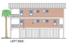 Coastal Home Plans - Beach Girl - Left Side Elevation Florida House Plans, Beach House Plans, Florida Home, Beach House Decor, Narrow Lot House Plans, House On Stilts, Coastal Colors, Tower House, Coastal Homes