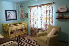 My very favorite nursery so far! Inspiration for the walls and rug and a painted (yellow) crib.