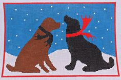 Now available in our Bloomin' Stitches store: CBK Needlepoint Evening Snow Dogs by Laura Megroz HP Needlepoint Canvas 13 Ct. www.bloominstitches.com