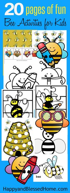FREE Easy and Fun Printable Bee Activity Pack for Kids - 20 Pages with coloring, cutting, matching and more. Perfect for fun play-date or bee themed birthday party! Ad With puzzles, coloring and cereal snack ideas for kids so you can enjoy #CerealAnytime.