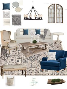 Shop the Look! Cozy Living Rooms, Home Living Room, Living Room Decor, Living Spaces, Home Design, Interior Design, Home Staging, Farmhouse Style, Farmhouse Decor