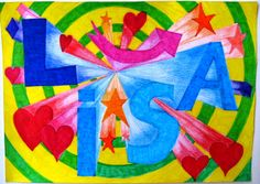elisasantambrogio : Perspective NAME Project Middle School Art Projects, High School Art, Art Mots, 7th Grade Art, Perspective Art, Alphabet Art, Name Art, Elements Of Art, Art Plastique