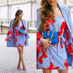 Sasa Zoe - Dress, Only $35 Blazer, Sunglasses, Bag, Wedges - COLOR POP