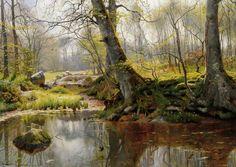 Un étang tranquille, huile de Peder Mork Monsted (1859-1941, Denmark)