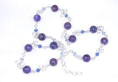 Purple crazy lace agate gemstone wire wrap long by BeadedDesygns - Happy birthday Gloria! #Etsy #EtsyRMP