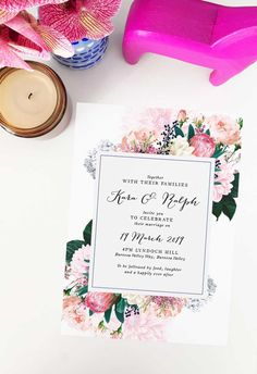 Create your dream day with these striking wedding invitations from Sail and Swan studio. Artist made and designed with love. Bohemian Wedding Theme, Bohemian Wedding Invitations, Boho Theme, Pink Wedding Theme, Bohemian Wedding Inspiration, Mexican Themed Weddings, Protea Wedding, Pink Wedding Decorations, Floral Invitation