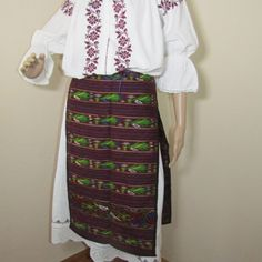 Romanian peasant complete costume from Oltenia, beautiful antique completely handmade ethnic costume size L - XL formed of two pieces for sale at www.greatblouses.com Two Pieces, Ethnic, High Waisted Skirt, Traditional, Costumes, Antiques, Skirts, Handmade, Vintage