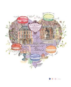 LOVE in Paris French decor 8X10 print Macarons and Lilac Heart on Parisian map Romantic France Watercolor illustration. $25.00, via Etsy.