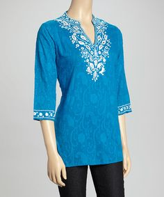 Royal Blue & White Embroidered Notch Neck Top by La Cera #zulily #zulilyfinds