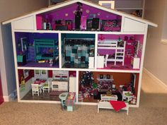 American Girl Doll House: The finished product! Just amazing & so life like. Our American Girl Dollhouse. Completed 12/24/2013. Taking orders for unfurnished houses. For more information email dhillis75@yahoo.com