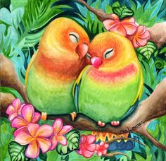Lovebirds... By Artist Unknown...