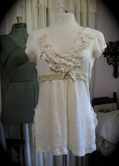 Romantic Shabby Beige Top feminine style by TatteredDelicates