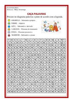 Caça palavras - substantivos, adjetivos e pronomes Portuguese Language, Learn Portuguese, Professor, Presentation, Messages, Activities, Learning, School, Beatles